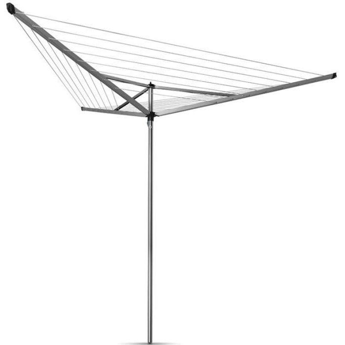 BRABANTIA - 310645 - Séchoir Essential - 30 mètres – douille plastique – Ø 35 mm – 3 bras – Metallic Grey