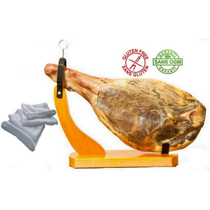 Jambon Serrano avec os sans patte env. 6.5kg avec son support gondole et son sac à jambon