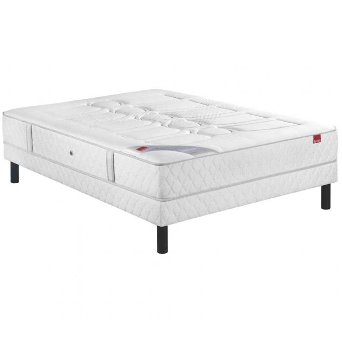 Ensemble Epeda Ressorts Multi Air Poudré Sommier Pieds 160x200