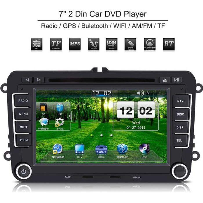 7 - Autoradio 2 Din Lecteur DVD de voiture écran tactile Navigation GPS Bluetooth HE-VW07-1 pour VW - Volkswagen - POLO - PASSAT -