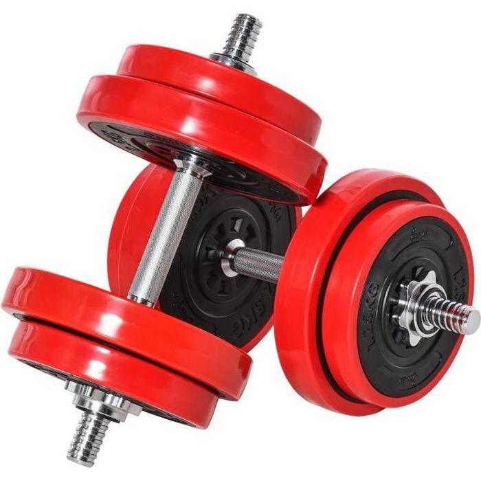 Ensemble d'haltères total 20 kg - 2 en 1 haltères courte-longue avec barre d'extension - entraînement musculaire & haltérophilie