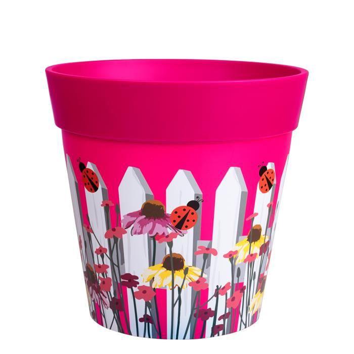 Hum Flowerpots Pot de Fleurs Colorés d'intérieur/extérieur Clôture Rose