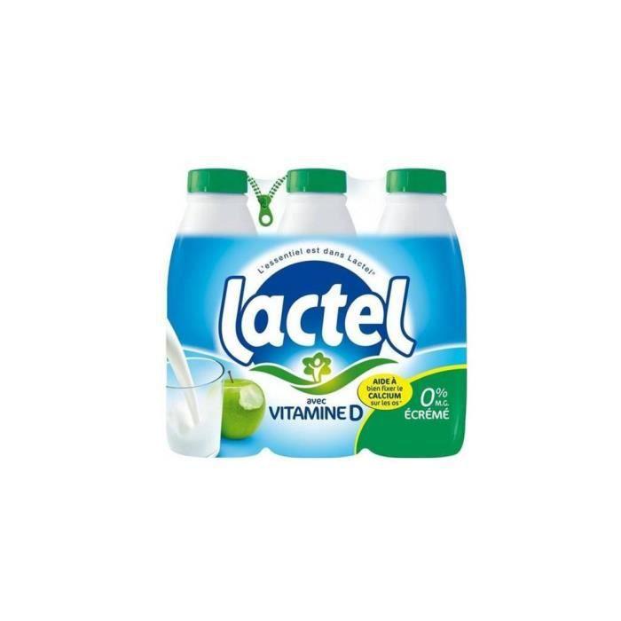 Lait Lactel Vitamine D écrémé 1L (lot de 12)