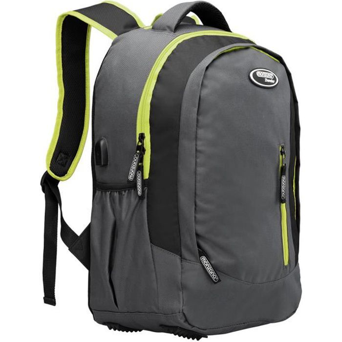 Sac à Dos 35L Gris-Vert randonnée Montagne Sport Vacances école Port USB Tissu 600D Oxford Sac Ordinateur Portable compartiments
