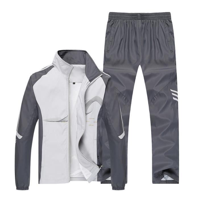 Survêtement pour homme Fashion Sportswear Ensemble 2 pièces Sweat à capuche + pantalon, combinaison de sport Streetwear Veste à cap