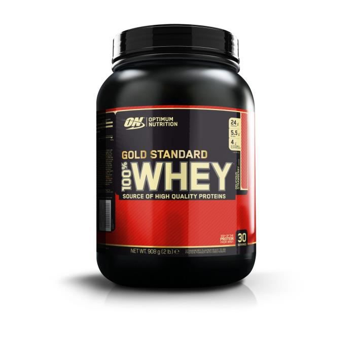 OPTIMUM NUTRITION Pot 100% Whey Gold Standard Fraise - 908 gr