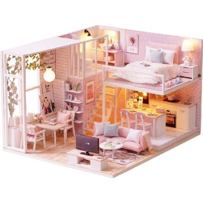TEMPSA Mini Maison de poupée DIY Loft Appartement avec LED Pour Enfants de plus de 7 ans