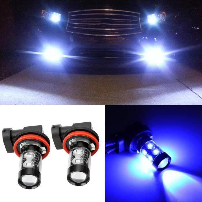 VINGVO phare à LED 2pcs H11 / H8 6000K Bleu 50W LED Ampoules de phare Kit antibrouillard voiture conduite lampe