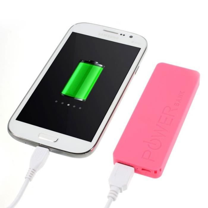 batterie externe power bank universel 3000mah rose pour. Black Bedroom Furniture Sets. Home Design Ideas