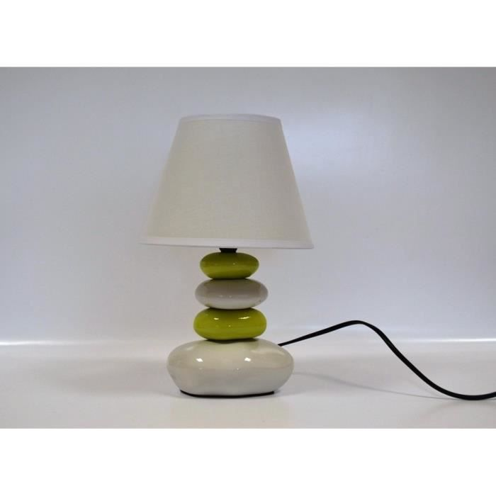 lampe de chevet galet blanc et vert anis 31cm achat. Black Bedroom Furniture Sets. Home Design Ideas