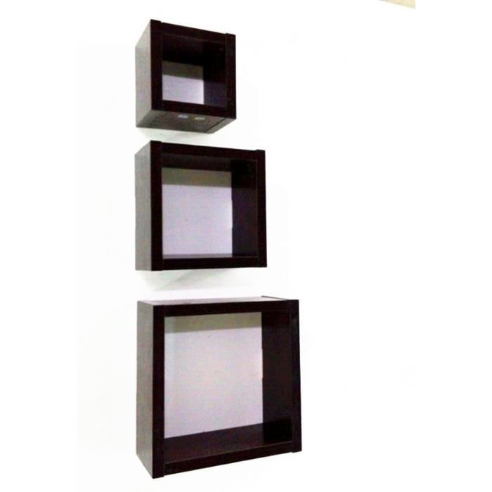 moderne bois set of 3 carr cube mural flottant coin tag re support maison achat vente. Black Bedroom Furniture Sets. Home Design Ideas