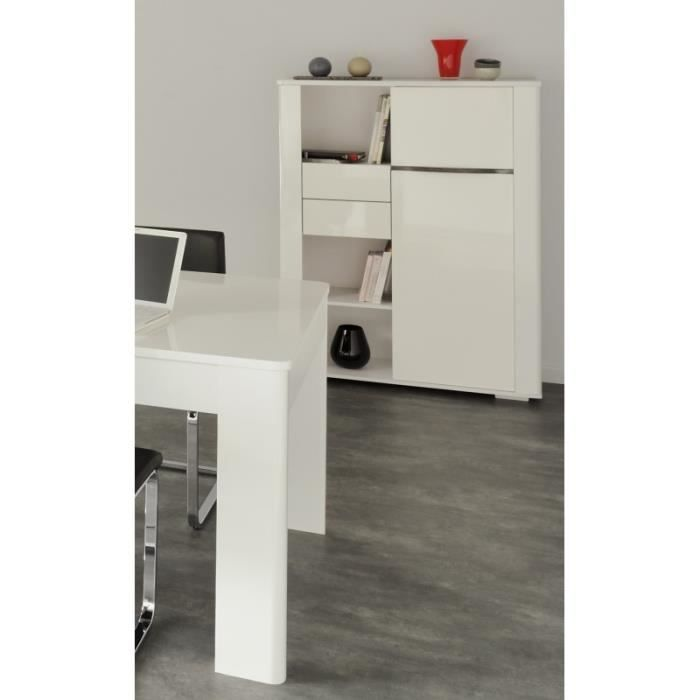 Ensemble salon avec banc tv contemporain blanc white for Ensemble salon blanc