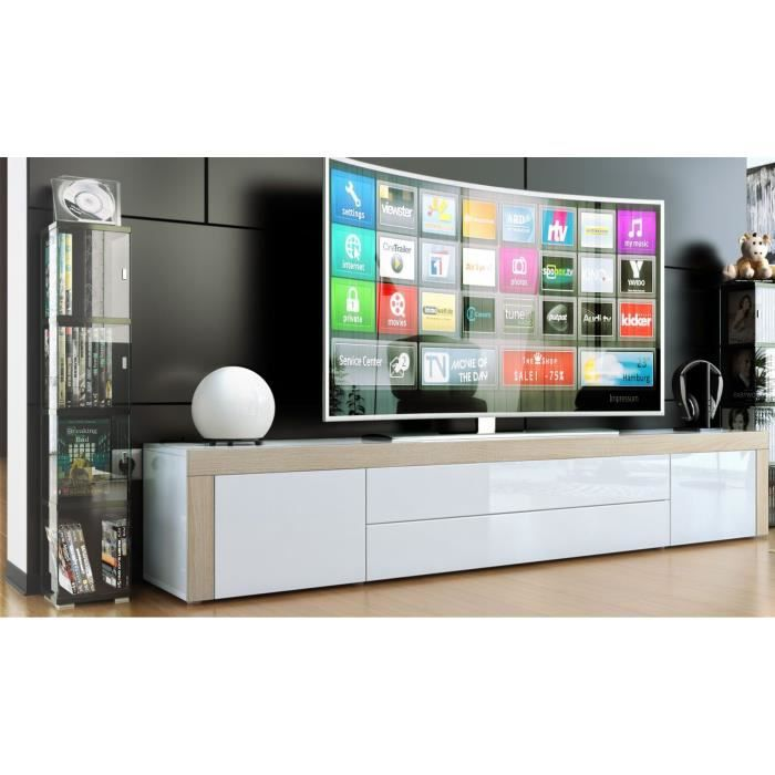 meuble tv blanc blanc bois brut 200cm achat vente meuble tv meuble tv soldes cdiscount. Black Bedroom Furniture Sets. Home Design Ideas
