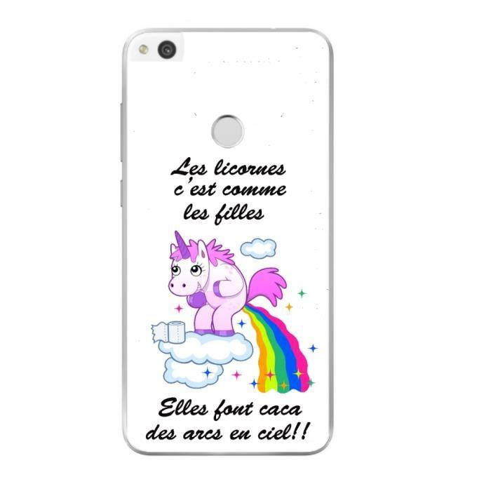 Coque pour Huawei P8 lite 2017 Humour Licorne Arc En Ciel Girly ...