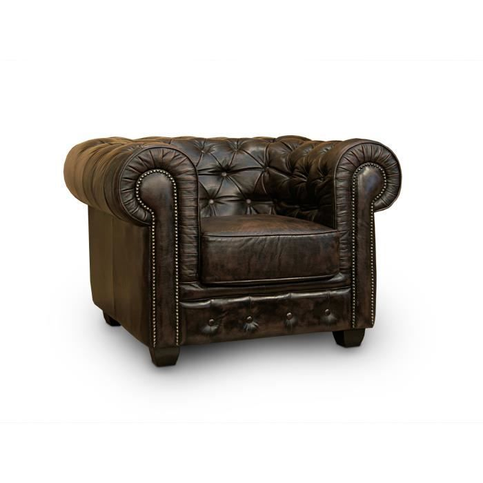 fauteuil chesterfield en cuir v ritable brun massivum achat vente fauteuil cuir v ritable. Black Bedroom Furniture Sets. Home Design Ideas
