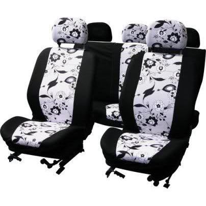 housse couvre sieges 9pcs black flower voiture achat vente housse de si ge housse auto 9pcs. Black Bedroom Furniture Sets. Home Design Ideas