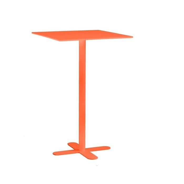 Table haute de jardin carr e 60x60 san mateo couleur orange achat vente table de jardin Table haute jardin design