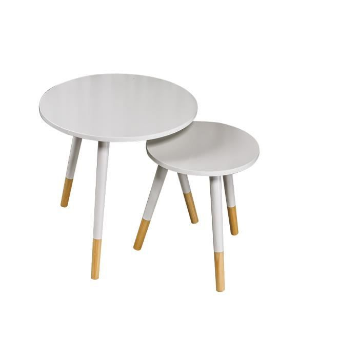 Set 2 tables basses storen blanches achat vente table basse set 2 tables - Tables basses blanches ...