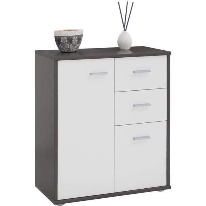 buffet remy commode rangement 2 portes 2 tiroirs m lamin gris et blanc mat achat vente. Black Bedroom Furniture Sets. Home Design Ideas