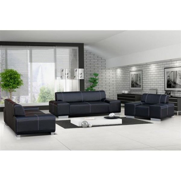 ensemble canap et fauteuil 3 2 1 flavio noir achat vente salon complet polyur thane bois. Black Bedroom Furniture Sets. Home Design Ideas