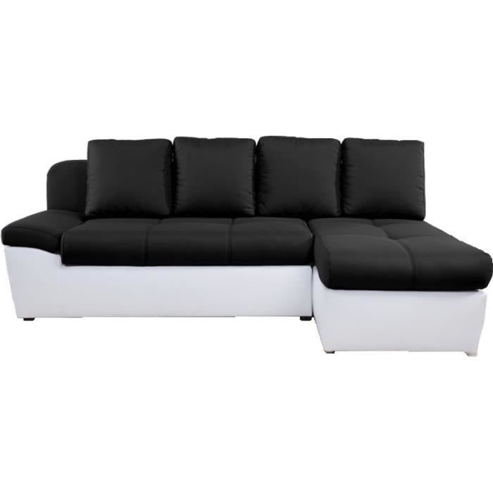 Canap d 39 angle droit convertible switsofa duette noir blanc achat ven - Cdiscount canape angle convertible ...