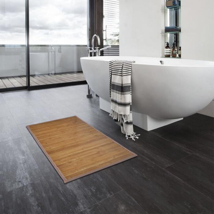 Tapis de bain en Bambou antidérapant décor moderne de salle de bain 60 x 90  cm Marron