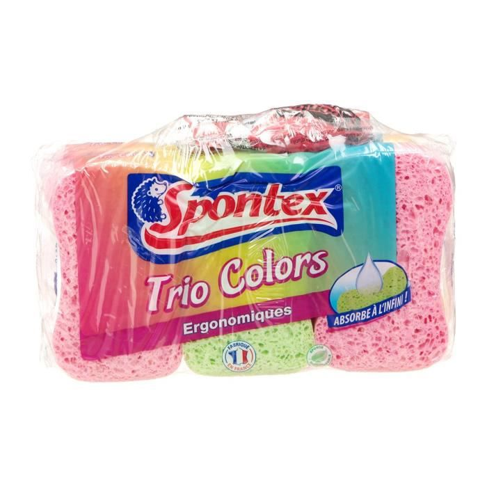 ÉPONGE VAISSELLE SPONTEX Trio colors - x6