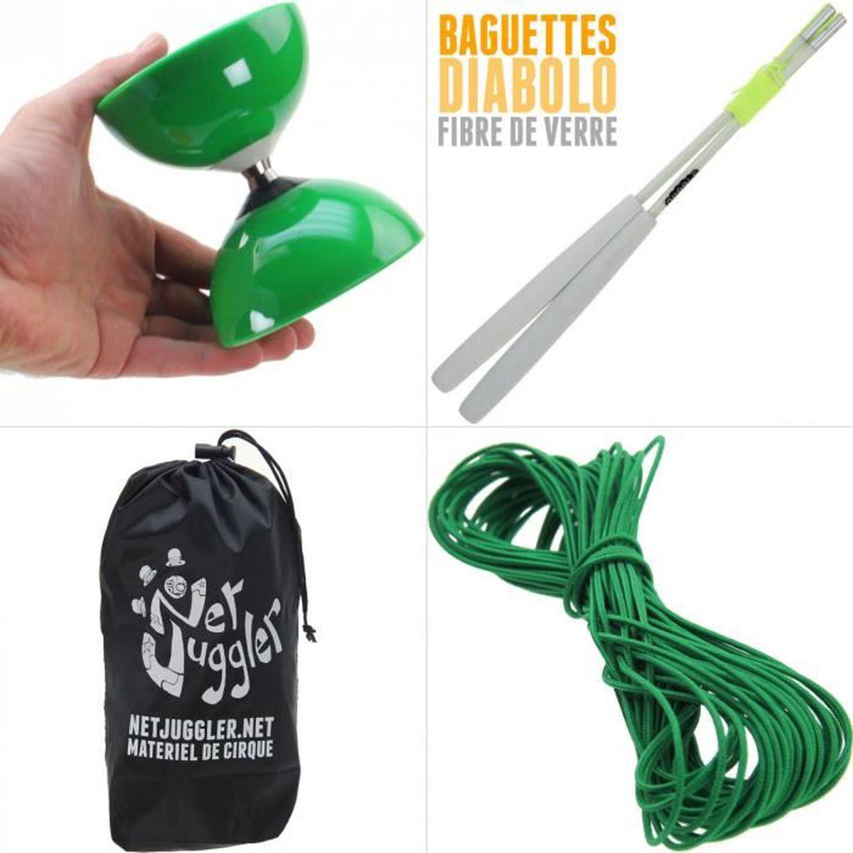 DIABOLO Diabolo Roulement Vert + Baguettes Pro Blanc + Sac