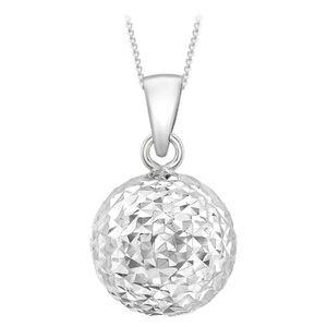 SAUTOIR ET COLLIER Collier  Or blanc Diamond Cut Mm pendentif boule s