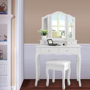 COIFFEUSE Coiffeuse, Table de Maquillage, 4 tiroir, 3 miroir
