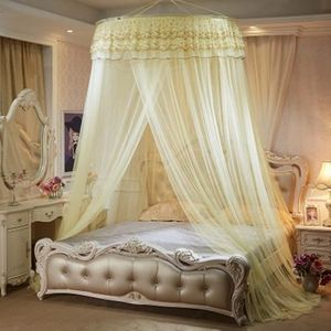 moustiquaire de lit double ciel de lit fille princesse accessoire d coration romantique jaune. Black Bedroom Furniture Sets. Home Design Ideas