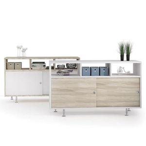 BUFFET - BAHUT  Petit buffet moderne bois et blanc JULIE Option 1