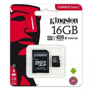 CARTE MÉMOIRE KINGSTON Carte Micro SDHC Canvas Select - 16 Go -