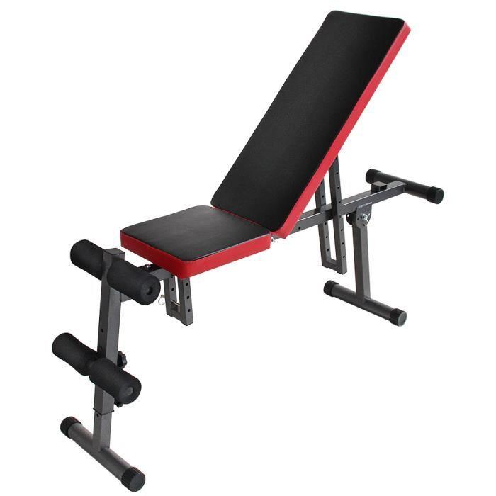 Professionnel Banc de Musculation Fitness Pliable régable en dossier et siège,Sit-up,exercices d'haltères. tractions, flexion et ext