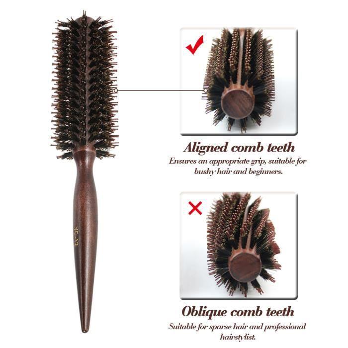 Brosse à Cheveux En Poils De Sanglier – Grande courbe Vent Brosse à cheveux avec poils doux antistatique léger