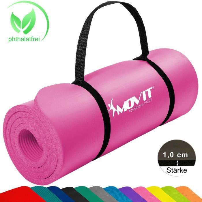 MOVIT® Tapis de Gymnastique Mat de Yoga sans phtalate Fitness Pilates-Sport-Gym SGS-Sol testé, Taille 183cm x 60cm, très épais Ép