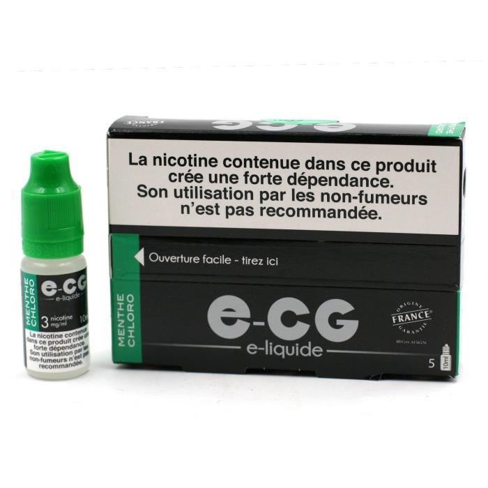 Lot de 5 Flacons E-CG - Goût Menthe Chloro 3 mg/ml