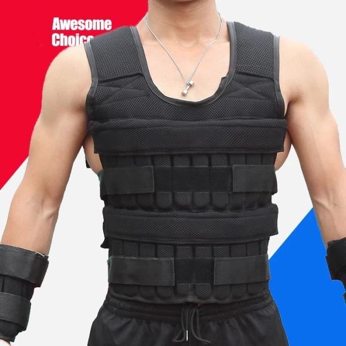 Gilet de poids réglable 30 kg, veste de sable, équipement de conditionnement physique d'entraînement physique