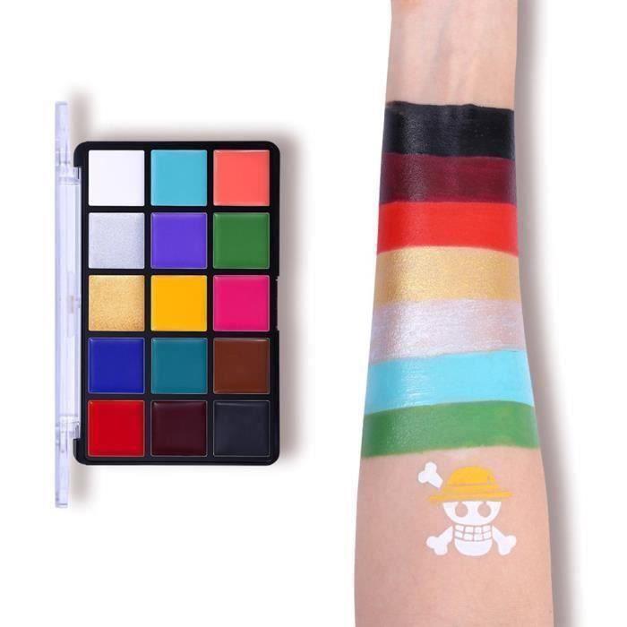 15 Couleurs fard gras Non Toxique Soluble à eau Bodypaint Pigments Art Maquillage Peinture avec Brosse