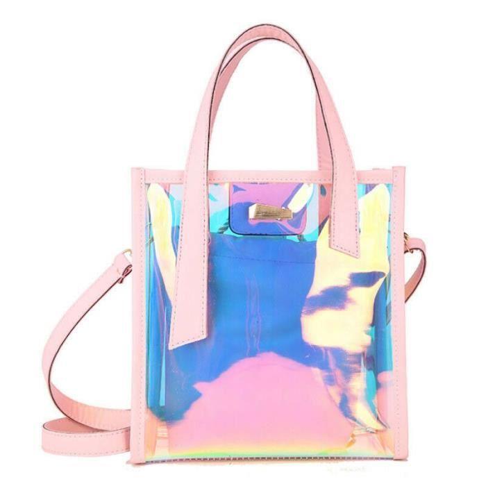 Femmes mode hologramme clair sacs fourre tout Transparent Messenger sac à main + sac intérieur~2*BU25316