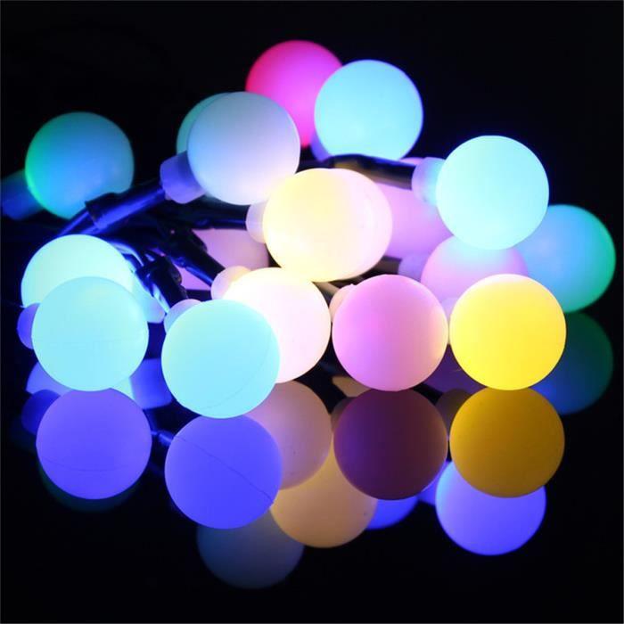 Guirlande Lumineuse Solaire 20 Boules LED Guinguette Multicolores Fée Noël Fête