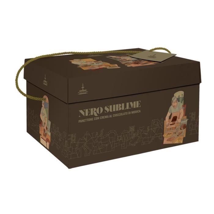 Fiasconaro - Panettone Nero Sublime avec des gouttes de chocolat et fraises 1Kg