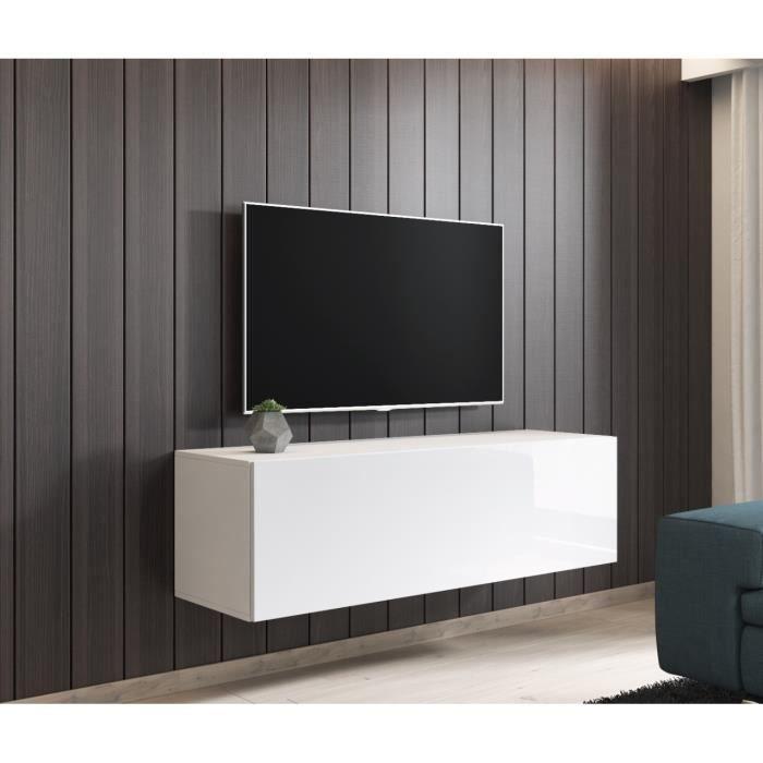 e-Com - Meuble TV Armoire tele Table television Suspendu FAY - 140 cm - Blanc