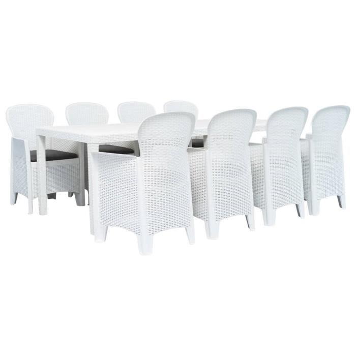 BEST - Haut de gamme Ensemble Table et Chaises de 8 à 10 personnes - Set 1 Table et 8 Chaises Plastique Blanc Aspect de rotin 4938