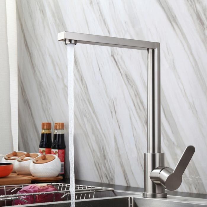 Robinets de cuisine,Robinet mitigeur monté sur le pont, robinets de cuisine carrés, Rotation à 360 degrés, levier unique, lavabo,