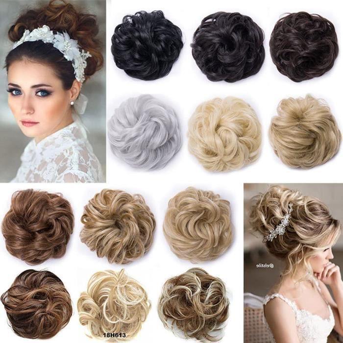 Extensions de cheveux Postiche Extensions a clip cheveux naturel Scrunchy Chignons VOLUMINEUX Bouclés Ou Chignon Décoiff 26218