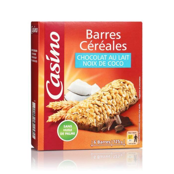 Lot de 6 Barres céréales chocolat - Au lait noix de coco - 126 g