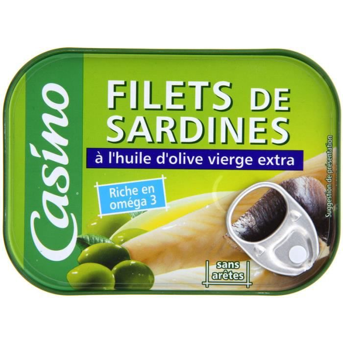 CASINO Filet de sardine à l' huile olive - 115 g