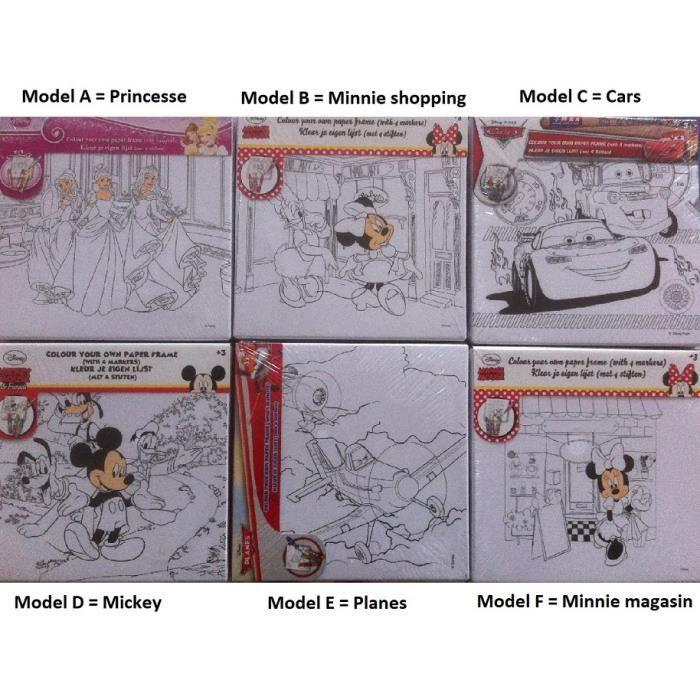 Disney Votre Propre Cadre De Couleur - Cadre à Dessiner Et 4 Crayons 15x15cm - L'Unité / Model Aléatoire - Loisir Activité Créatif