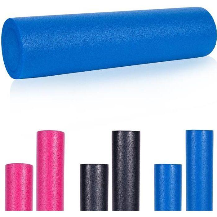 Rouleau de Pilates en mousse 60 x 15 cm - Rouleau de yoga pour l'auto-masage et la stimulation des fascias - Bleu